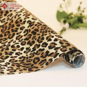 China Fashion Flocking Velvet Polyester Non Woven Fabric with Leopard Pattern on sale