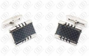 China Silver Shiny Fashion Carbon Fiber Cuff Link Jewelry For Men on sale