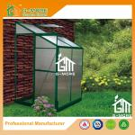 Green Color Wall Lean-to 4mm PC Aluminum Greenhouse - 4'x4'x6.7'FT