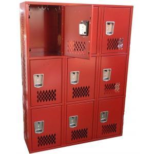 China 1 , 2 Door Three Tier Welded Steel Lockers Laundry Room Steel Wardrobe on sale