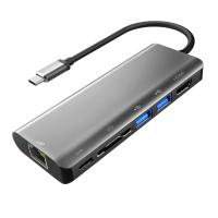 Aluminum Type C Adapter with HDMI Port Gigabit Ethernet Port USBC Power Delivery 2 USB 3.0 Ports SD Card Reader for mac