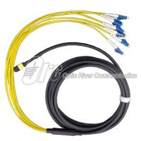 China Singlemode Yellow Fiber Optic Cable 8 Core MPO Breakout Cord to LC on sale