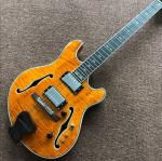 Custom F hollow body jazz Electric Guitar.double tiger flame gitaar.vibrato system.musical instruments orange color