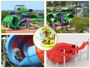 Quality Water Play Equipment Tornado Slide Fiberglass Water Slides with 18m Height Tower for Water Park for sale