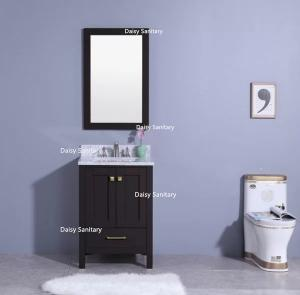 China All Thick Solid Wood Marble Top Bathroom Vanity With Square Ceramic Basin on sale