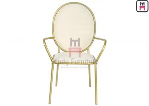 China Luxury Round Back Stainless Steel Restaurant Chairs Velvet Arm With SS Frame on sale