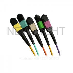 China MM SM MPO To 4 Duplex LC Breakout Cable Low Loss 0.35dB & Standard Loss 0.60dB on sale