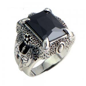 China Mens Thailand Retro Dragon Sterling Silver Ring with Created Black Onyx(023605BLACK) on sale
