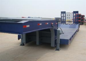 China Blue 40FT Three Alxe Low Flatbed Trailer , Hydraulic Low Bed Trailer on sale