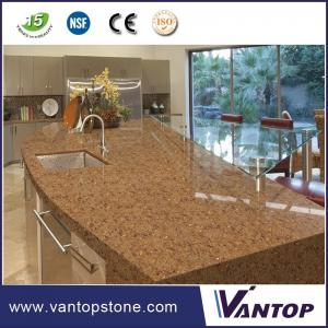 China Jumbo Size Shining Golden Color Engineered Stone Quartz Kitchen Countertops on sale