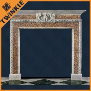 China Old Fireplace Mantel With White Marble / Yellow Granite 1500*1430*300MM on sale