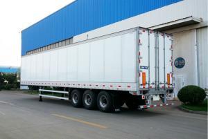 China 3 Axles 35 Tons Dry Van Semi Trailer Single Tyre Aluminum Alloy Panel on sale