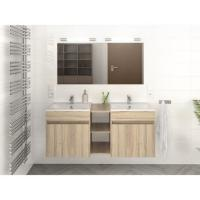 Wood Colour Double Sink Bathroom Vanity 120 Inch With Finger Pull Drawers