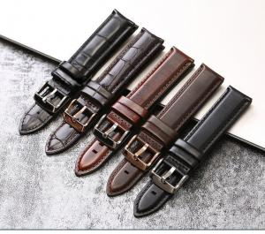 China Adjustable Genuine Leather Watch Band Replacement Durable With 20mm Width on sale
