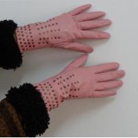 Ladies Fashion goatskin genuine leather gloves finger dress gloves with rivet