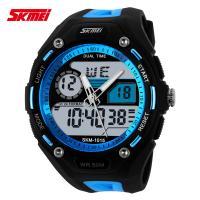 China Reloj azul del deporte de la correa de la PU del reloj análogo-digital dual del tiempo para los jóvenes on sale