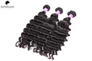 China Free Shedding 6A Remy Hair Weave , Natural Black Deep Wave Hair Extension on sale
