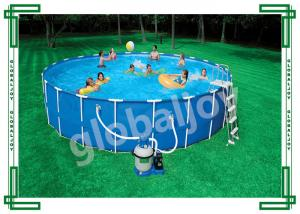China Customize Round Ground Metal Frame Inflatable Swimming Pool For Family on sale