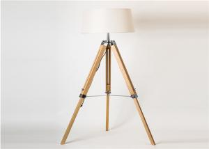 China Energy Saving LED Floor Reading Light Natural Wooden Tripod 317 Foot Switch on sale