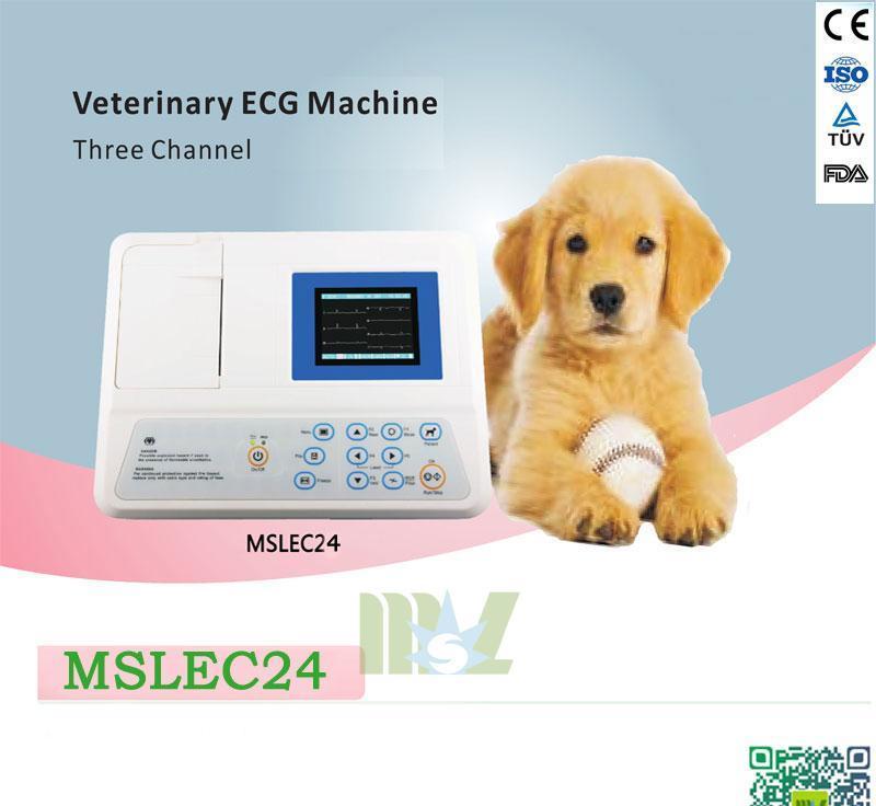 Portable 3 lead veterinary ecg machine MSLEC24