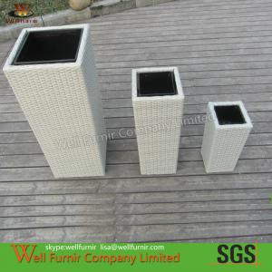 China 6pcs White Garden PE Rattan Flower Pots on sale