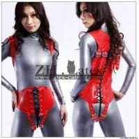 Fashion red Latex corset catsuit/zentai,100% handmade