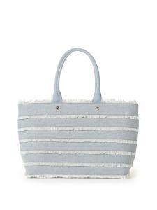 China Light Blue Canvas Lady Shoulder Handbag Stripe Patch Work Design Handbags White Tassel Bag Lace Decoration in Large Size on sale