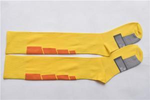 China Yellow thin soccer socks,Men High quality nylon knee high football socks supplier