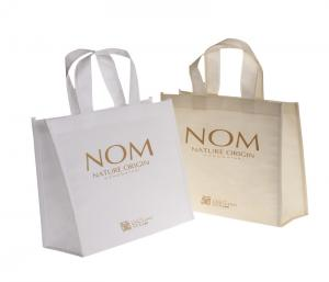 China Personalized Woven Packaging Bags Tote Silk Screen Printing Soft Loop Handle on sale