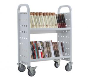 China Library sloped book cart,small metal library book cart RCA-2S-LIB15 on sale
