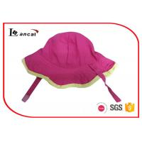 Simple style floral bucket hat hot pink cotton with yellow bound edge
