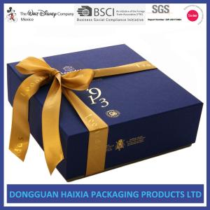 China Luxury Rigid Cardboard Gift Boxes Light Weight Food Packaging With Ribbon on sale
