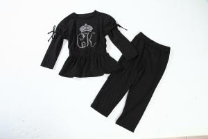 China Black And White Children'S Cotton Pajamas Little Girl Pajamas With Heat Transfer Logo on sale