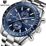 Benyar Fashion Men Stainless Steel Band Waterproof 30m Chronograph Luminous Quartz Wrist Watch BY-5140