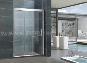 China Mirror Color Sliding Glass Tub Doors / Framed Shower Enclosure With L Shape Handle supplier