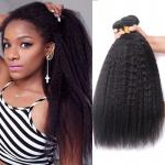 Ladys  Human Extensions Peruvian Kinky Straight Hair Weave For Black Women