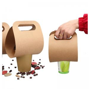 China Simple design low cost portable Kraft cup holder take out hot drink carrier bag on sale