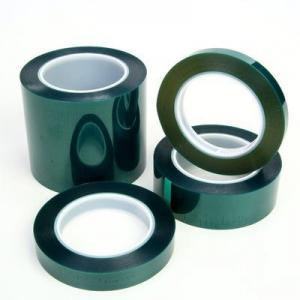 China Green Polyester masking tape silicone adhesive high temperature  widely use for power coating on sale