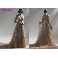 Ball Multi Colored Wedding Gowns Brown Lace Appliques Bridal Gowns Long Robe