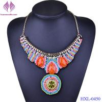 New Choker Necklace Bohemia Collares Vintage Colorful Bead Pendant Statement Necklace Women Jewelry