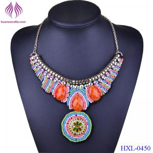China New Choker Necklace Bohemia Collares Vintage Colorful Bead Pendant Statement Necklace Women Jewelry on sale