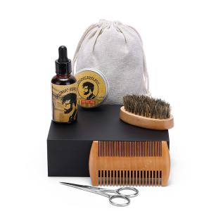 China Best Beard Grooming & Trimming Kit for Men Care Growth Gift Set Beard Brush /Comb/ Oil / Balm / Steel Scissors OEM on sale