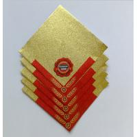China Golden Aluminum Custom Foil Stickers Embossing Lacquer Coated Surface on sale