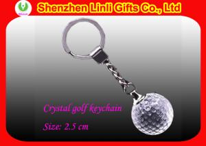 China Promotional logo engraved crystal Golf ball keychain gifts on sale