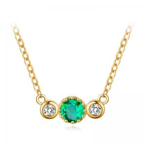China Green Emerald Alternate Diamond Gemstone Jewelry Natural Emerald Pendant Necklace  on sale