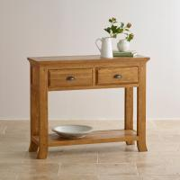 rustic oak wood console table with good design and 100% solid oak wood furniture