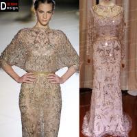 Real Sample Heavy Crystal Beaded Elie Saab Long Sleeve Fashion Dresses