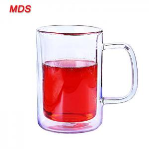 Quality Hand made high borosilicate glass dual cup with handle wholesale for sale