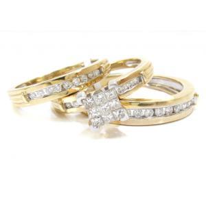 China Carat Princess Cut Silver Fashion Jewelry Gold Diamond Wedding Ring Set on sale