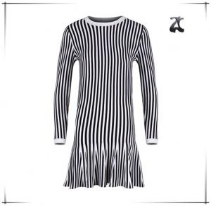 China Long Sleeve Womens Dress Sweaters Round Neck With Black And White Striped on sale